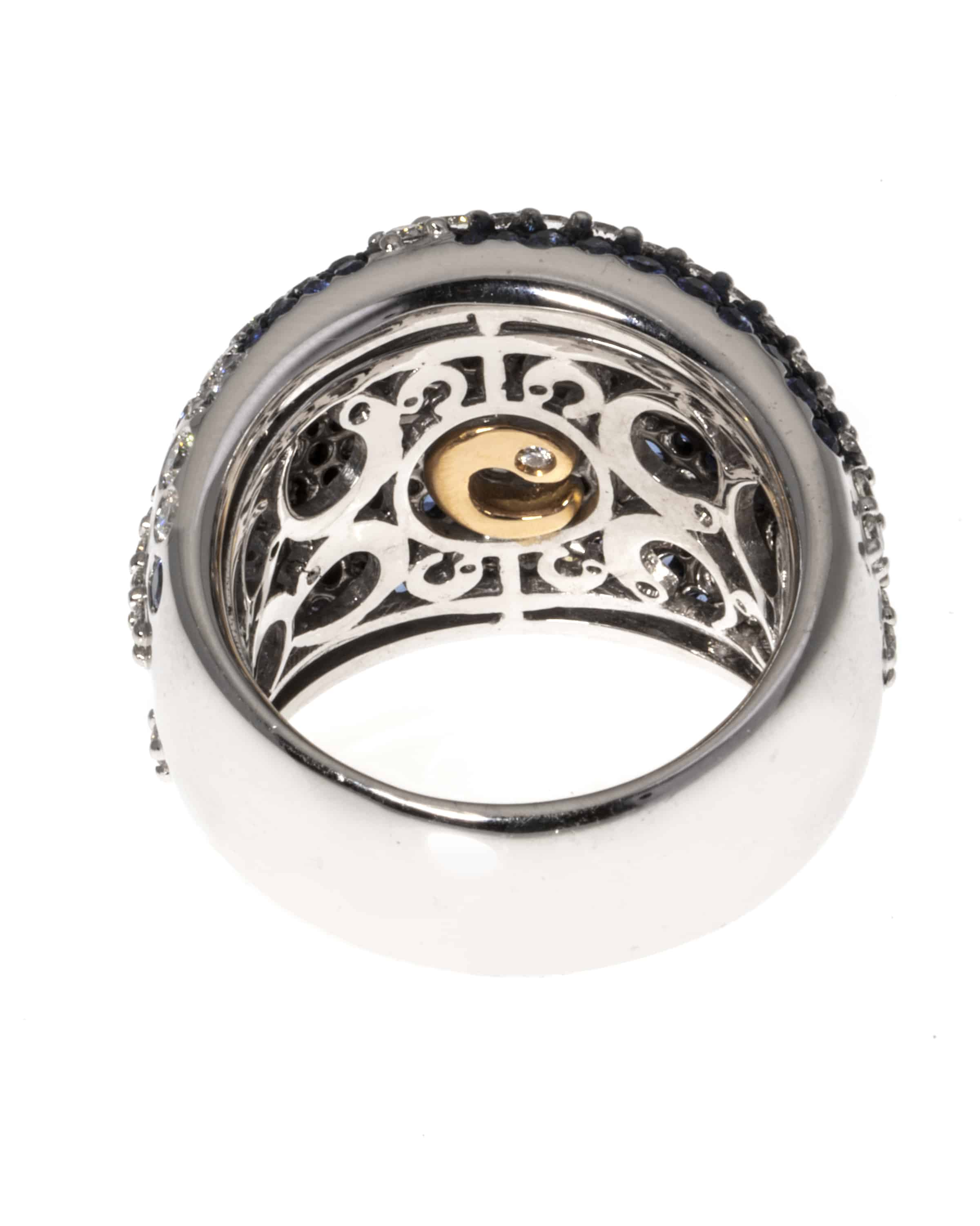 Crivelli 18k White Gold Diamond And Sapphire Band Ring Size 6.75. 259-AN448 - 35718495