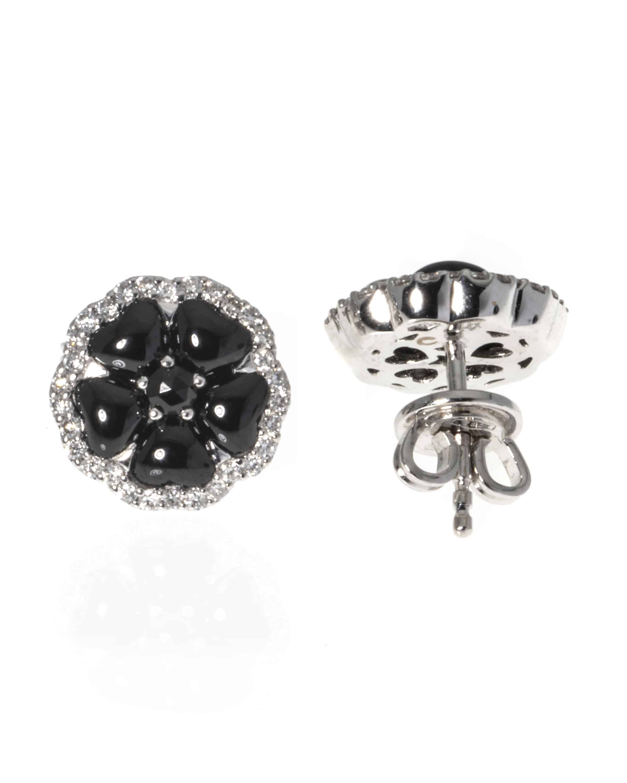 Crivelli 18k White Gold Diamond And Onyx Stud Earrings 307-TE7650 - 27463937