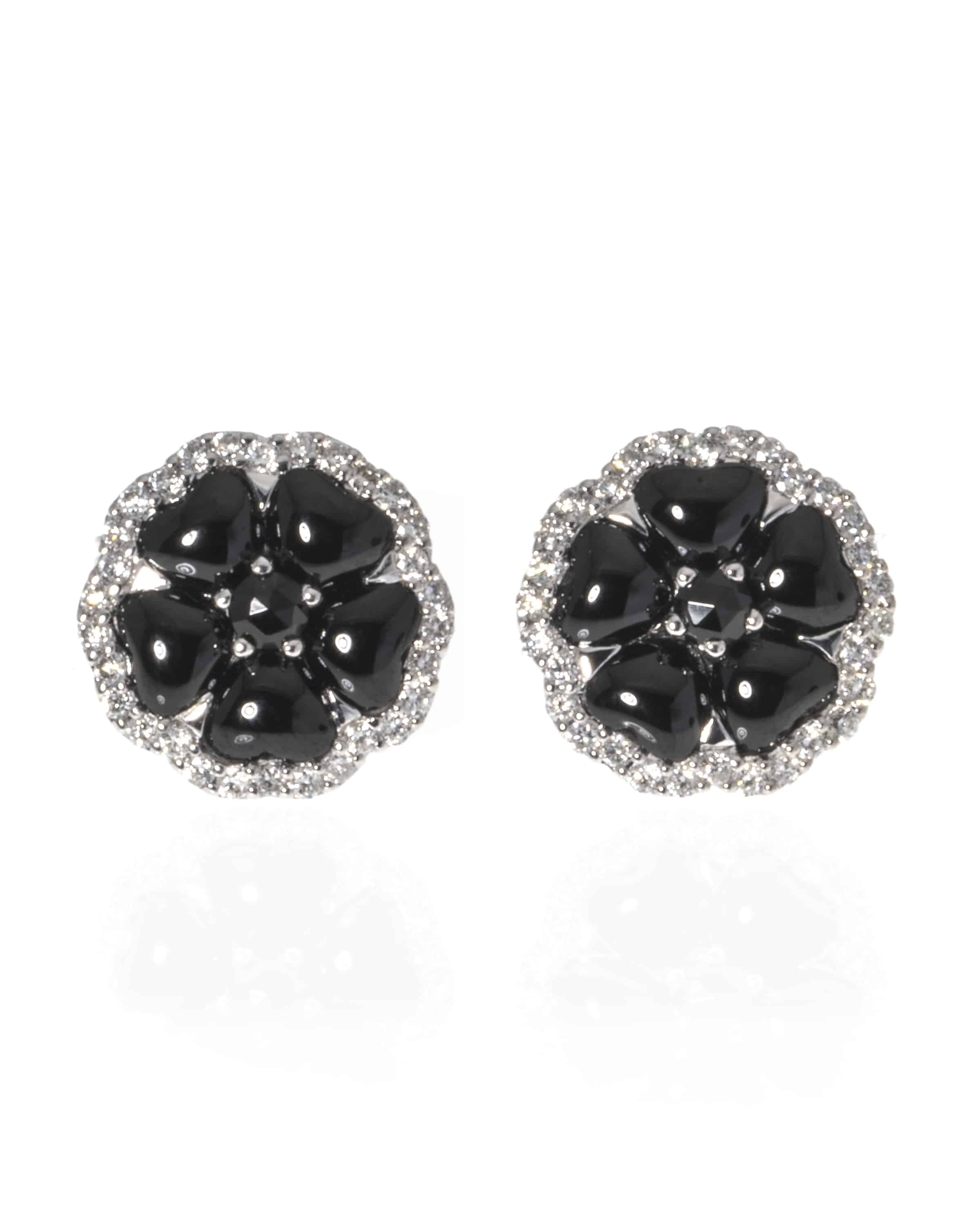 Details About Crivelli 18k White Gold Diamond And Onyx Stud Earrings 307 Te7650 84222048