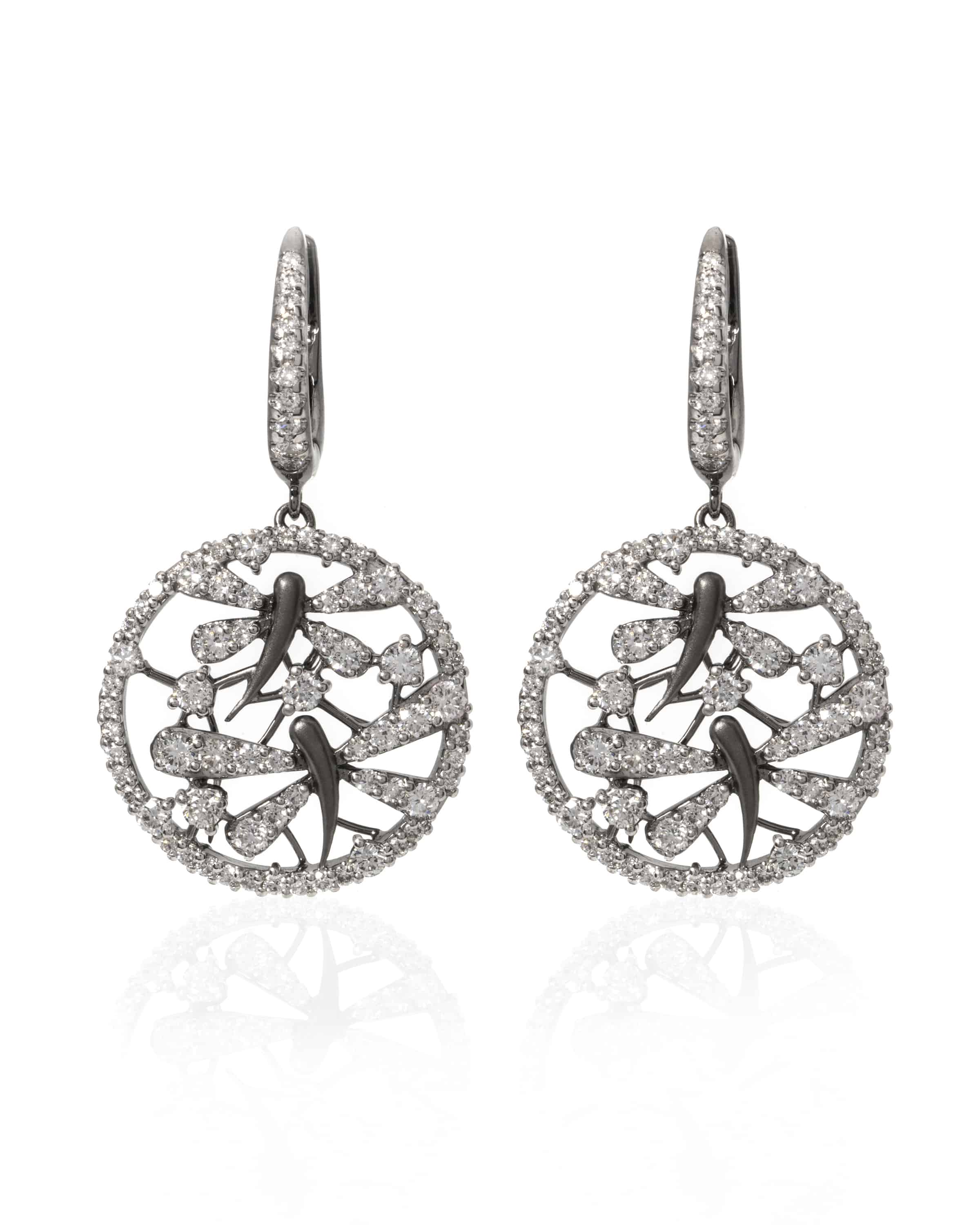 Crivelli 18k White Gold Diamond Drop Earrings 372-1999 - 55052119