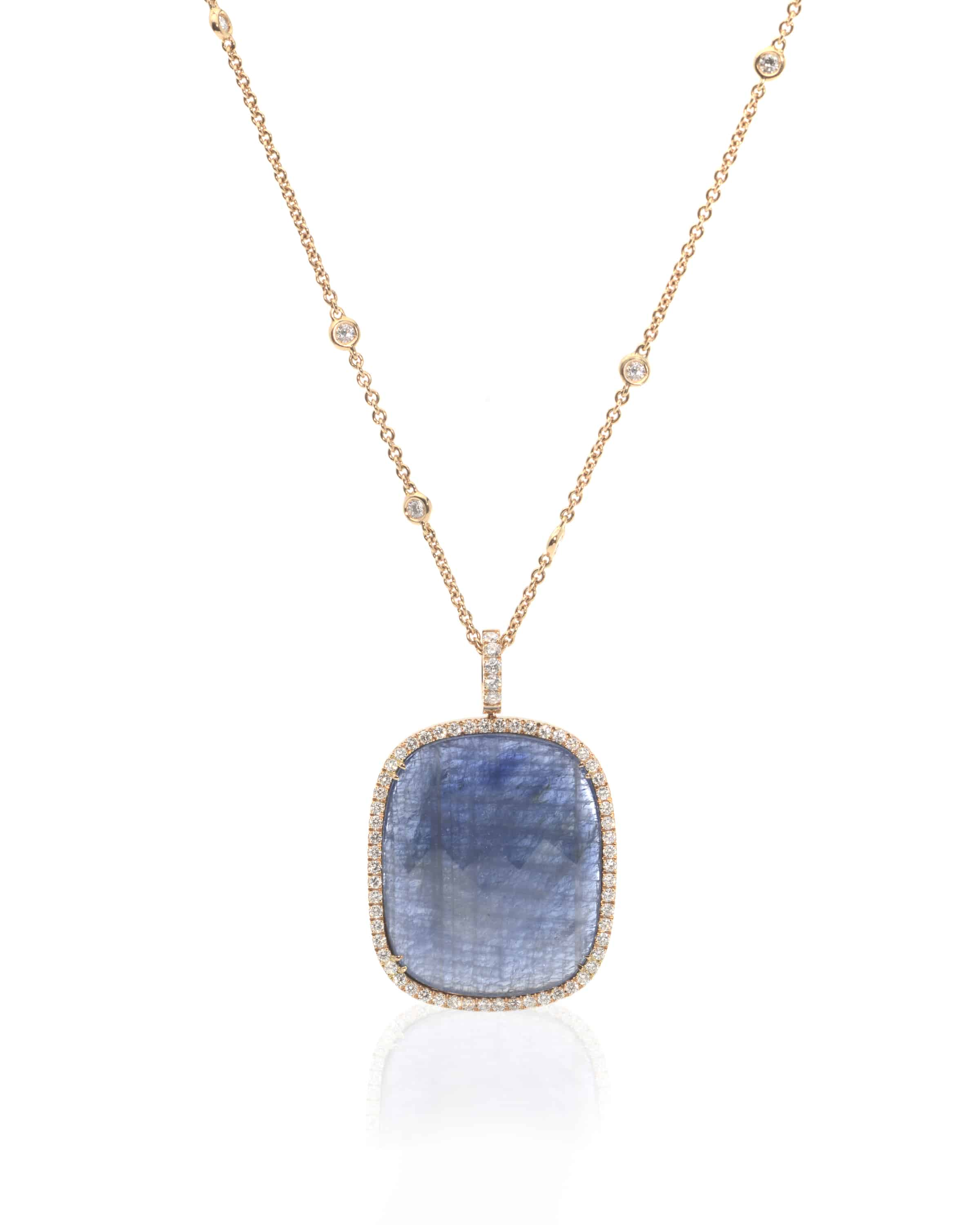 Crivelli 18k Yellow Gold Diamond And Sapphire Pendant Necklace 000-2754NS - 72918361