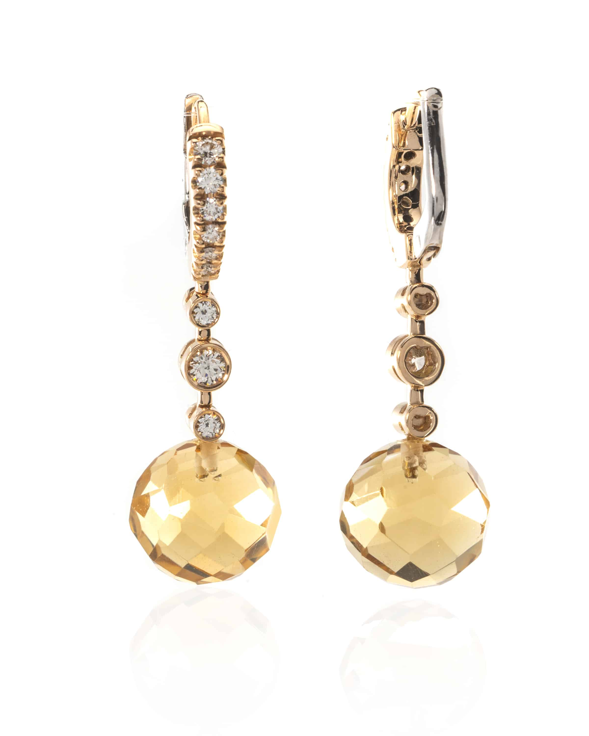 Crivelli 18k White & Rose Gold Diamond And Citrine Dangle Earrings 117-OR432 - 93337243