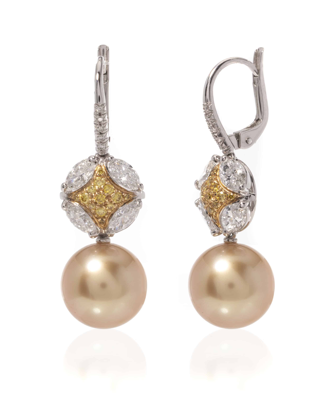 c2a552d80 Mikimoto 18k White Gold Diamond And Pearl Drop Earrings | ShopWorn