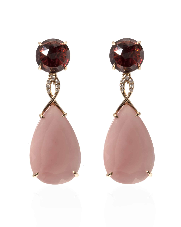 Giovanni Ferraris 18k Rose Gold And 18k White Gold Diamond And Garnet Dangle Earrings OR1794BR10/161