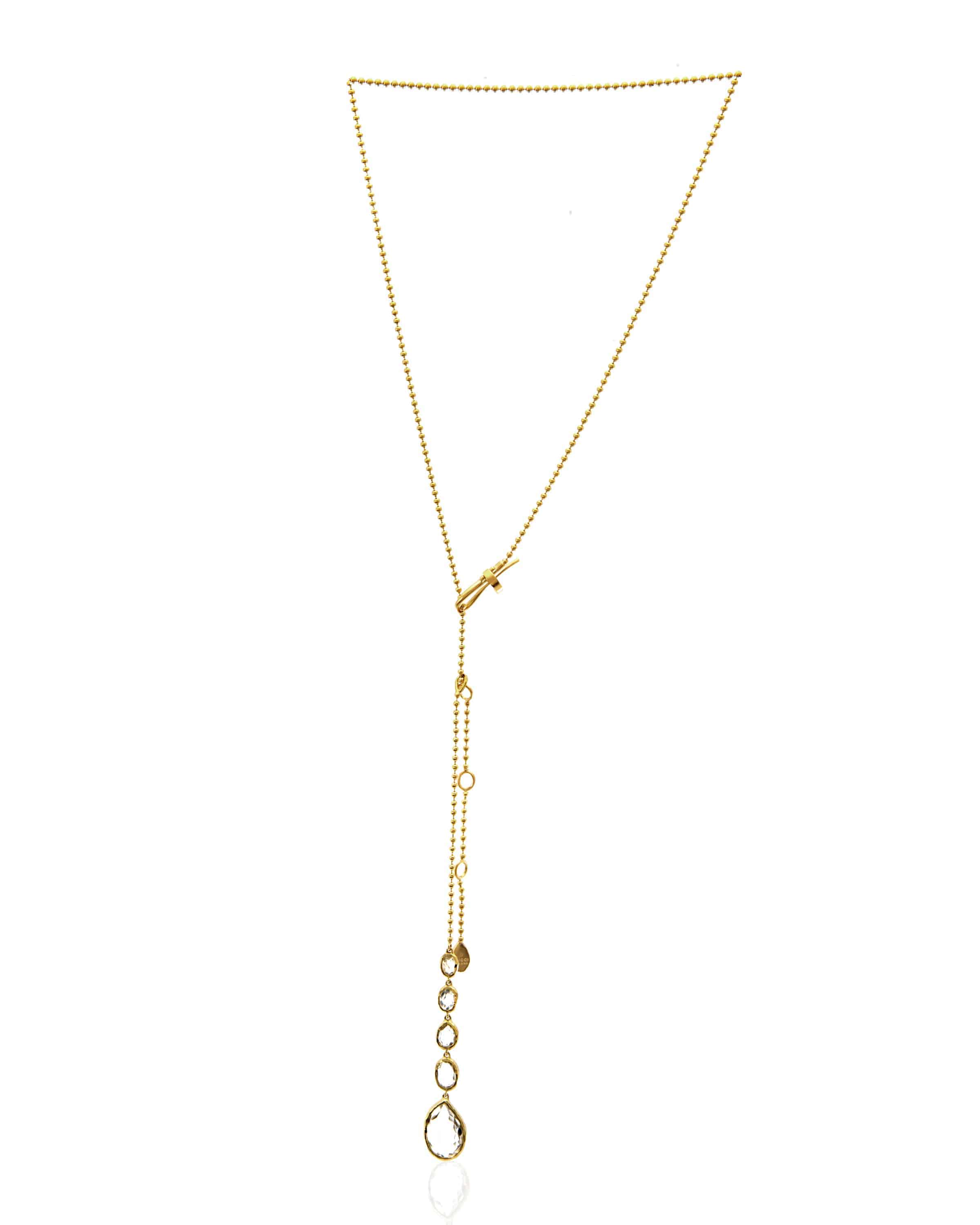 Gucci Rocca 18k Yellow Gold Quartz Lariat Necklace 125433J8C70806