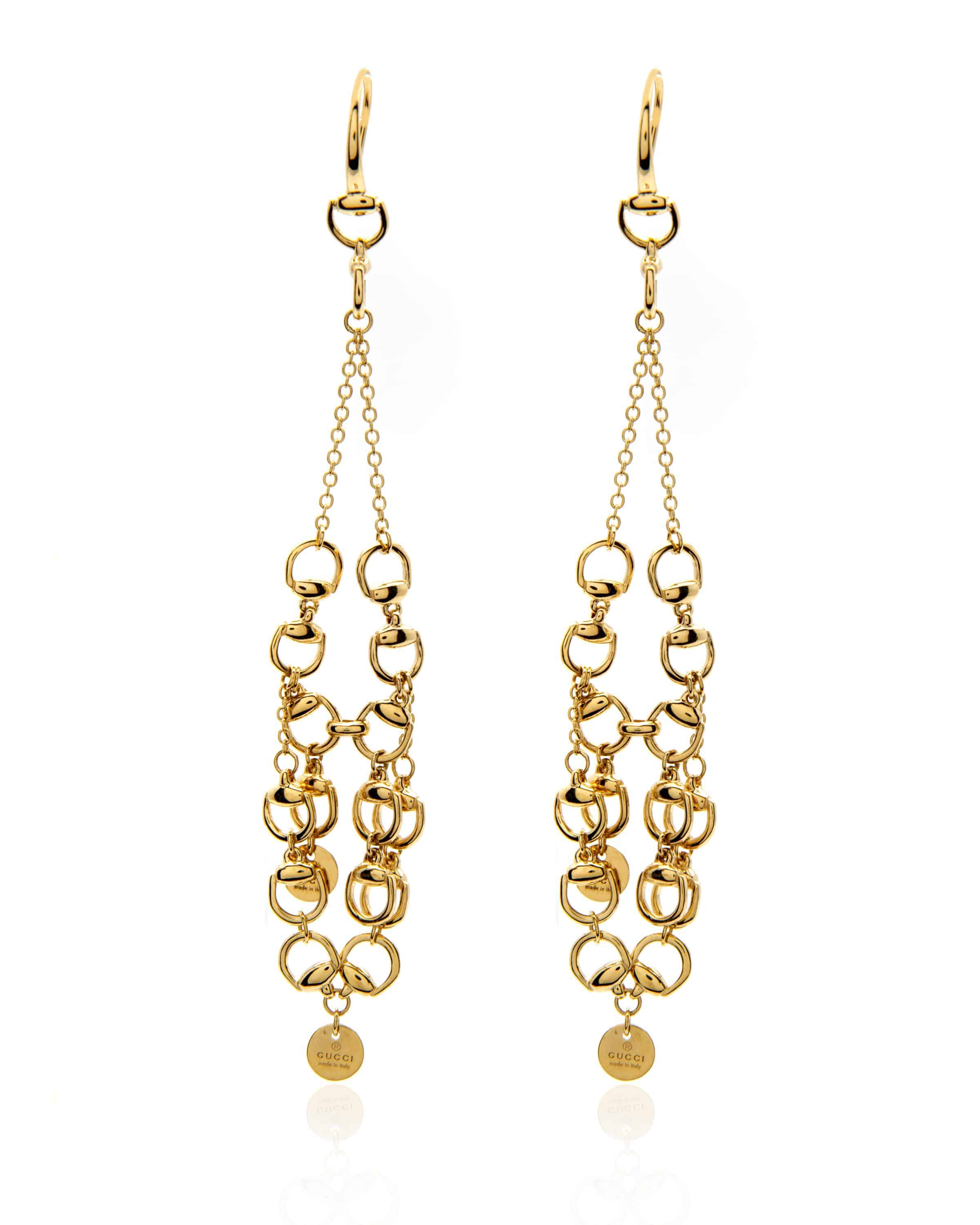 b2a5fb28f Gucci Horsebit 18k Yellow Gold Dangle Earrings | ShopWorn