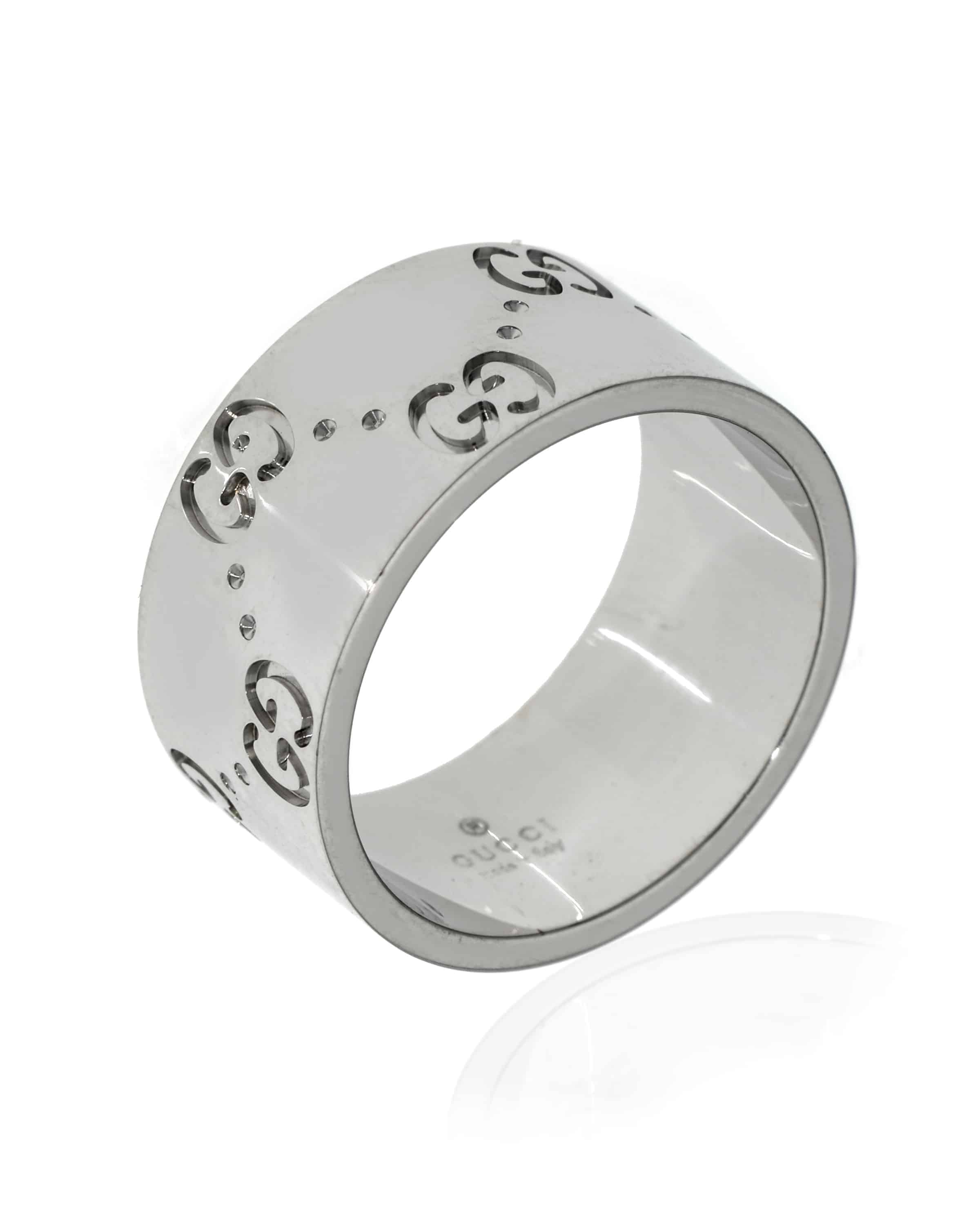 Gucci Icon 18k White Gold Band Ring Size 5.5. 7323809850900