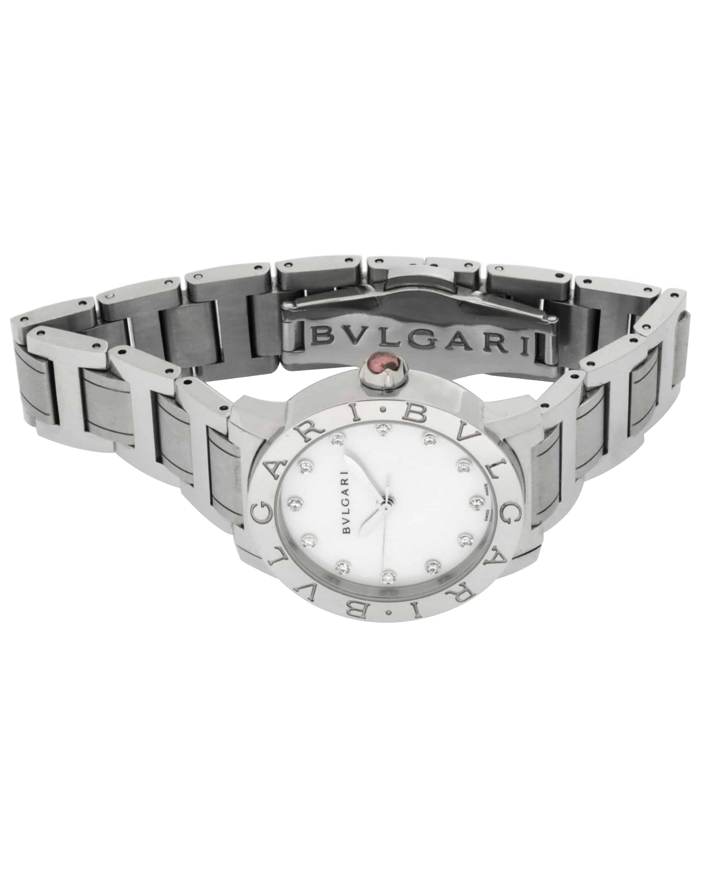 Bvlgari Bulgari Diamond Mother Of Pearl Dial Stainless Steel Automatic Ladies Watch