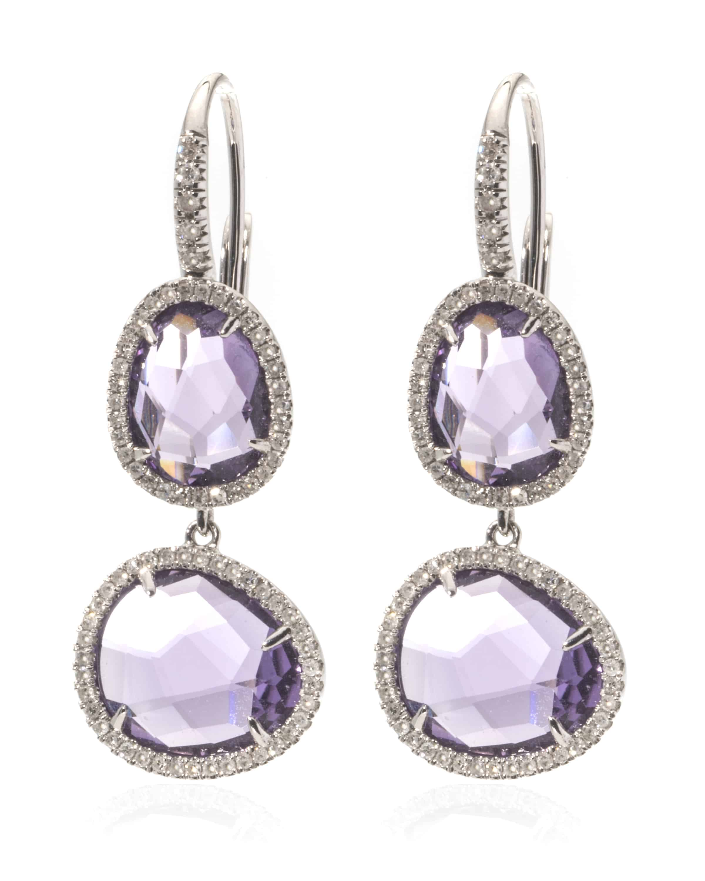 Details About Mimi Milano 18k Rose Gold And White Diamond Amethyst Drop Earrings