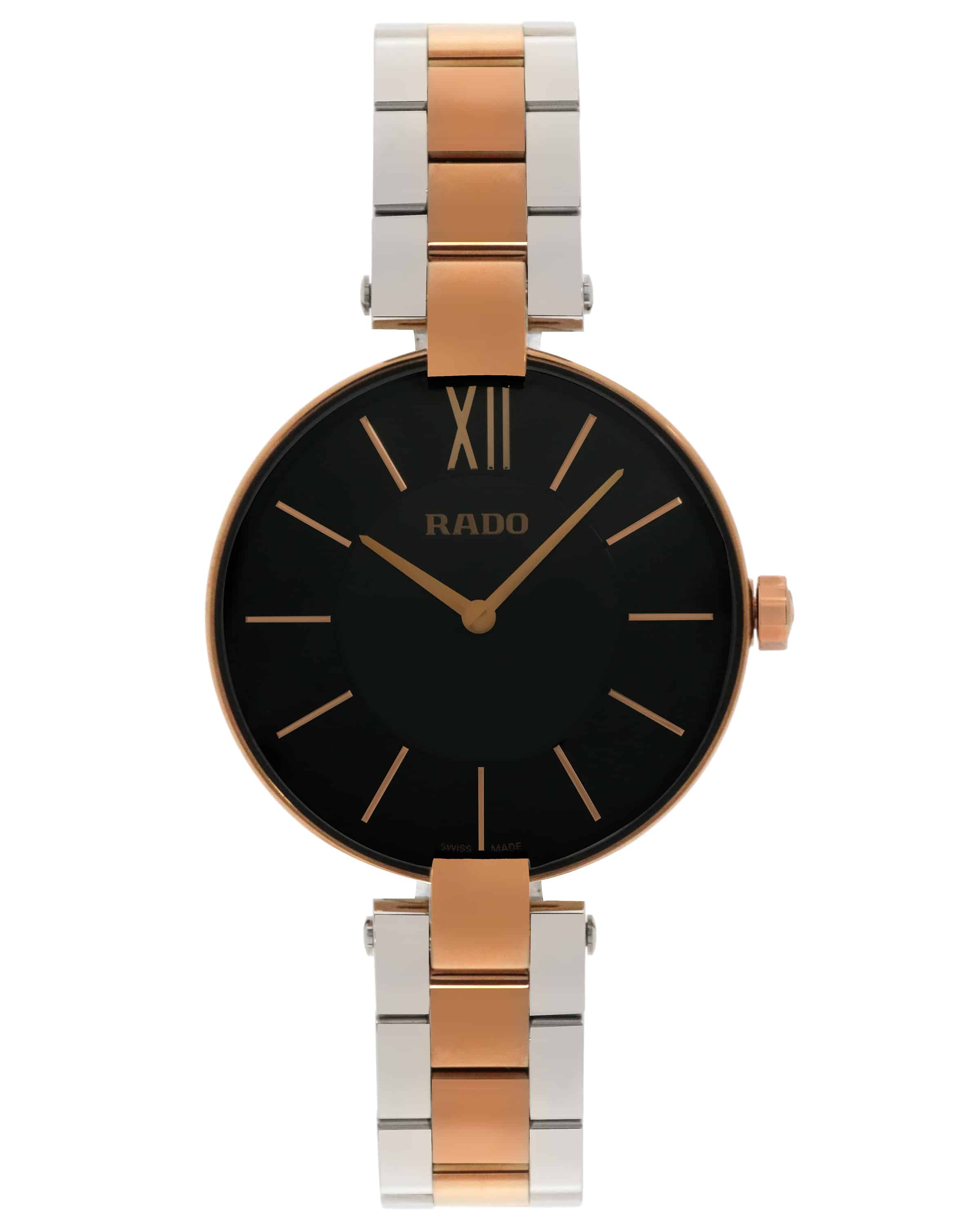 Rado Coupole Stainless Steel And Rose Gold Pvd Coated Quartz Ladies Watch R22851164