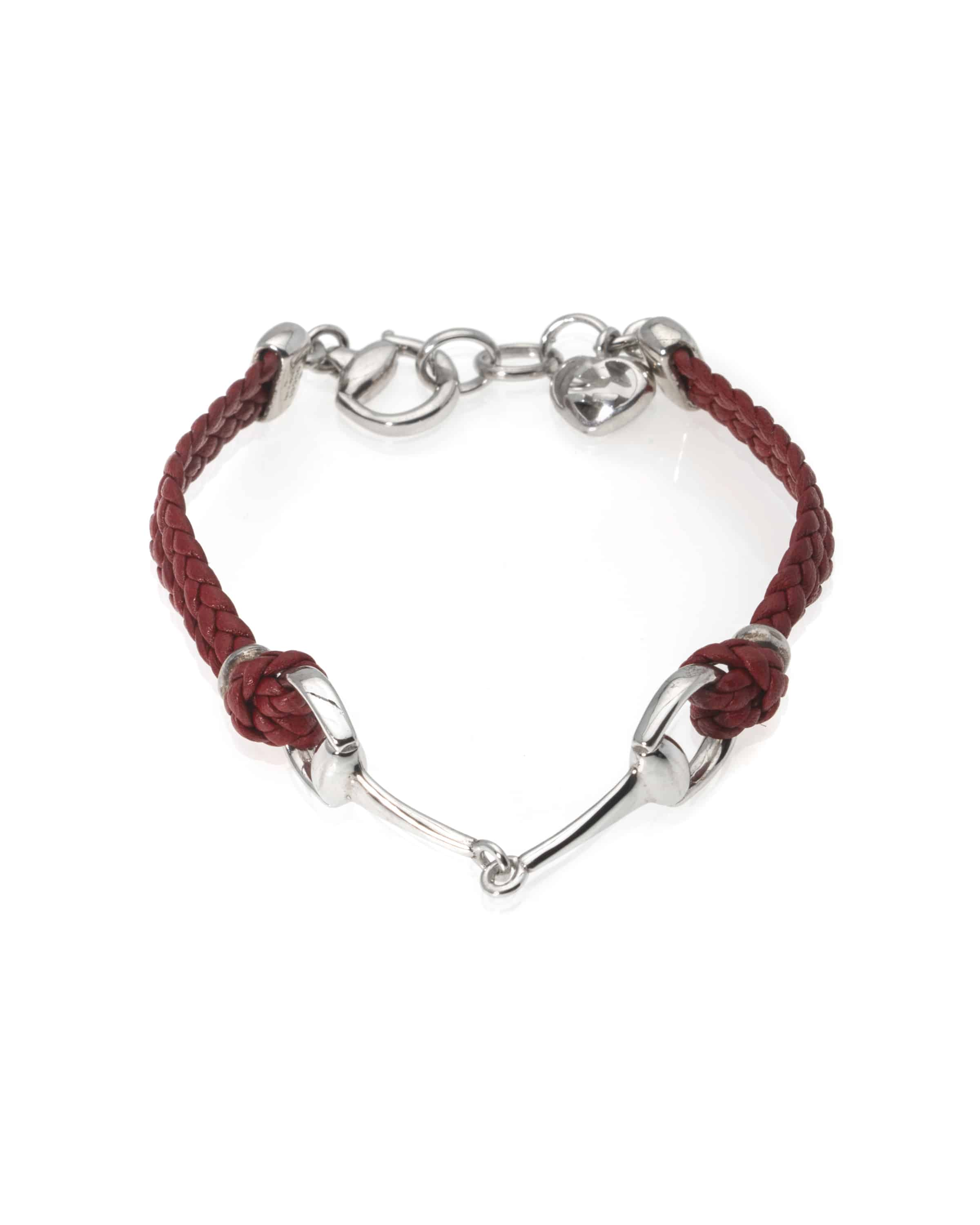 5fc634b29 Gucci Horsebit Sterling Silver And Leather Chain Bracelet | ShopWorn