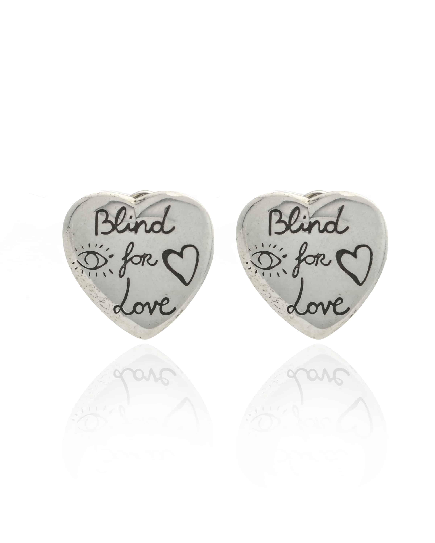 abb593c751a Gucci Blind For Love Sterling Silver Heart Earrings   ShopWorn
