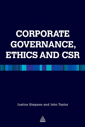 Book cover for Corporate Governance Ethics and CSR a book by Justine  Simpson, John R Taylor