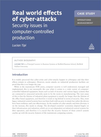 Book cover for Case Study:  Real World Effects of Cyber-Attacks a book by Lucian  Tipi