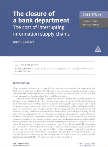 Book cover for Case Study:  The Closure of a Bank Department a book by Brian  Lawrence