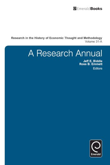 Book cover for A Research Annual a book by Jeff E. Biddle, Ross B. Emmett, Marianne  Johnson
