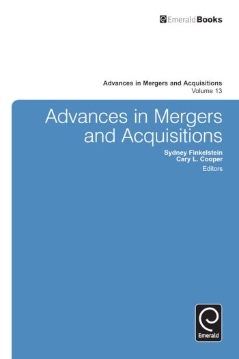 Book cover for Advances in Mergers and Acquisitions a book by Sir Cary L. Cooper, Sydney  Finkelstein
