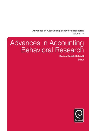 Book cover for Advances in Accounting Behavioral Research a book by Donna Bobek Schmitt