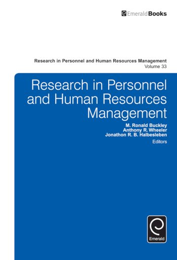 Book cover for Research in Personnel and Human Resources Management a book by M. Ronald Buckley, Anthony R. Wheeler, Jonathon R. B. Halbesleben