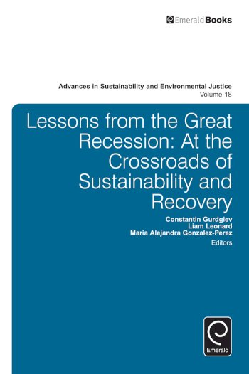Book cover for Lessons from the Great Recession:  At the Crossroads of Sustainability and Recovery a book by Constantin  Gurdgiev, Liam  Leonard, Maria Alejandra GonzalezPerez