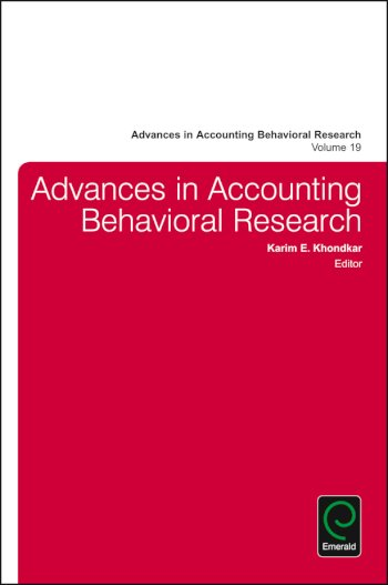 Book cover for Advances in Accounting Behavioral Research, a book by Khondkar E. Karim