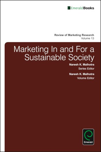 Book cover for Marketing In and For a Sustainable Society a book by Naresh K. Malhotra