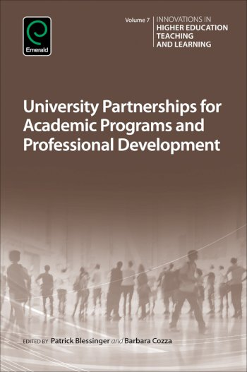 Book cover for University Partnerships for Academic Programs and Professional Development a book by Patrick  Blessinger, Barbara  Cozza
