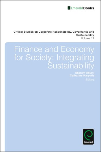 Book cover for Finance and Economy for Society:  Integrating Sustainability a book by Sharam  Alijani, Catherine  Karyotis