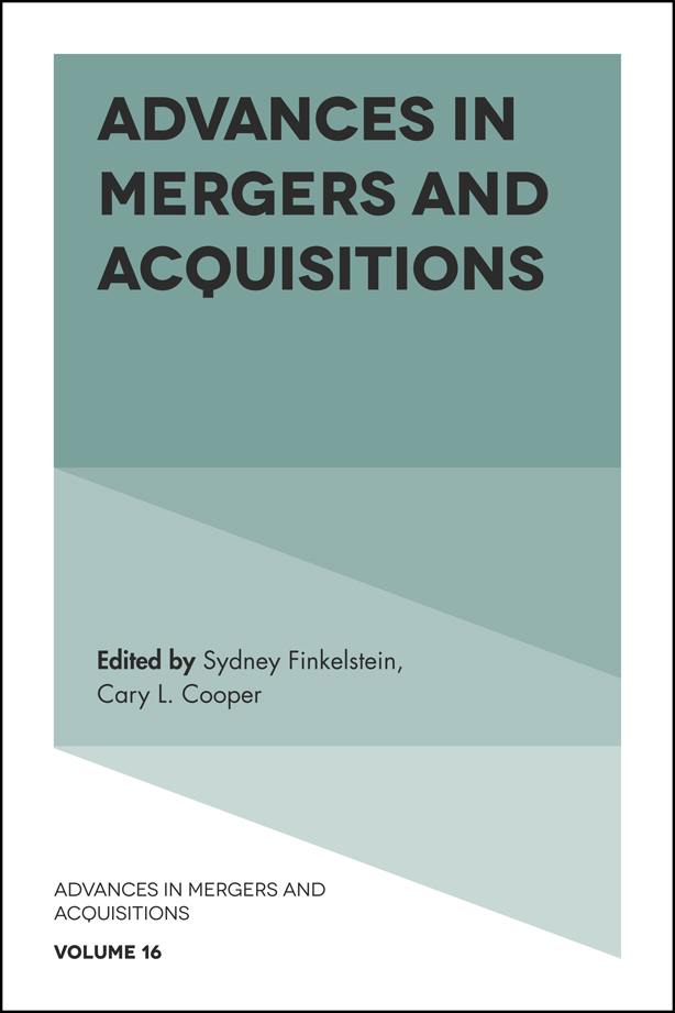 Book cover for Advances in Mergers and Acquisitions a book by Sydney  Finkelstein, Sir Cary L. Cooper