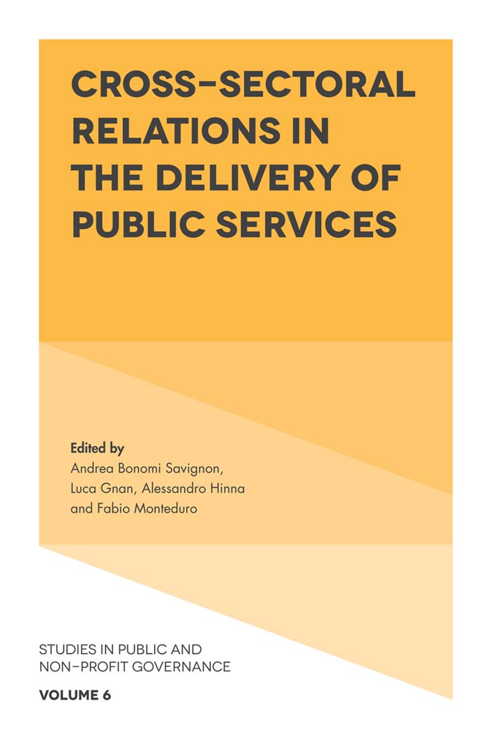 Book cover for Cross-Sectoral Relations in the Delivery of Public Services a book by Andrea Bonomi Savignon, Luca  Gnan, Alessandro  Hinna, Fabio  Monteduro