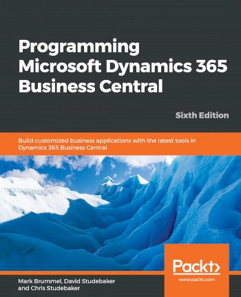 Book cover for Programming Microsoft Dynamics 365 Business Central:  Build customized business applications with the latest tools in Dynamics 365 Business Central a book by Mark  Brummel, David  Studebaker, Chris  Studebaker