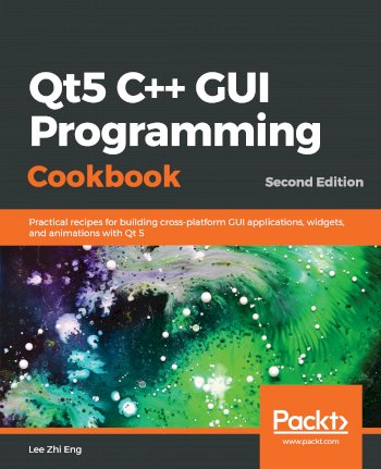 Book cover for  Qt5 C++ GUI Programming Cookbook:  Practical recipes for building cross-platform GUI applications, widgets, and animations with Qt 5, a book by Lee Zhi Eng