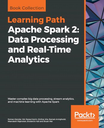 Book cover for Apache Spark 2:  Data Processing and Real-Time Analytics a book by Romeo  Kienzler, Md. Rezaul Karim, Sridhar  Alla, Siamak  Amirghodsi, Meenakshi  Rajendran, Broderick  Hall, Shuen  Mei