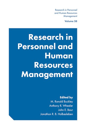 Book cover for Research in Personnel and Human Resources Management a book by M. Ronald Buckley, Anthony R. Wheeler, John E. Baur, Jonathon R. B. Halbesleben