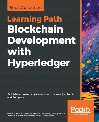Book cover for Blockchain Development with Hyperledger:  Build decentralized applications with Hyperledger Fabric and Composer a book by Salman A. Baset, Luc  Desrosiers, Nitin  Gaur, Petr  Novotny, Anthony  O'Dowd, Venkatraman  Ramakrishna, Weimin  Sun, Xun Brian Wu