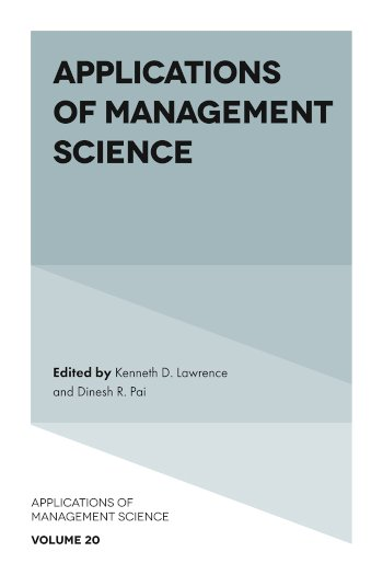 Book cover for Applications of Management Science a book by Kenneth D. Lawrence, Dinesh R. Pai