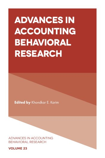 Book cover for Advances in Accounting Behavioral Research a book by Khondkar E. Karim