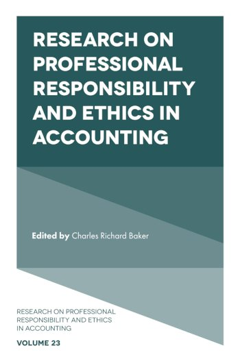 Book cover for Research on Professional Responsibility and Ethics in Accounting a book by Charles Richard Baker