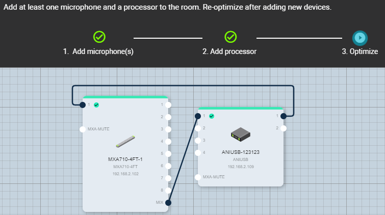 Screenshot of Shure Designer software's Optimize workflow between an MXA710 and ANIUSB-MATRIX.