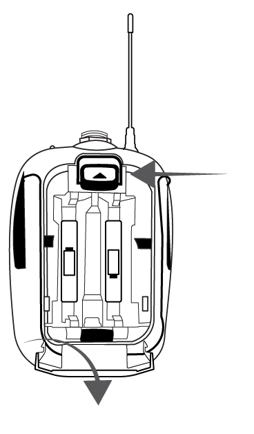Illustration of the battery compartment for the SLXD1 bodypack receiver.