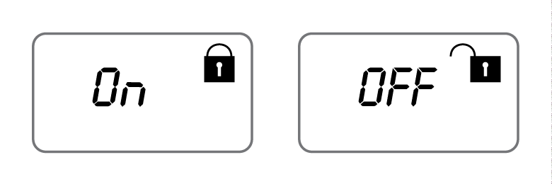 """A screen showing the word """"On"""" with the closed lock icon and a screen showing the word """"Off"""" with the open lock icon"""