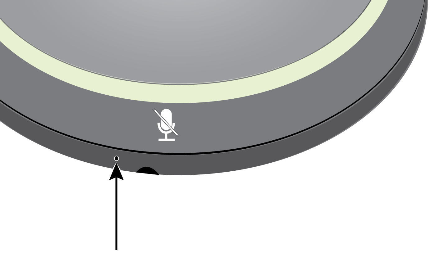 Illustration showing how to find the MXA310's reset button, which is a small hole on the lower half of the microphone.