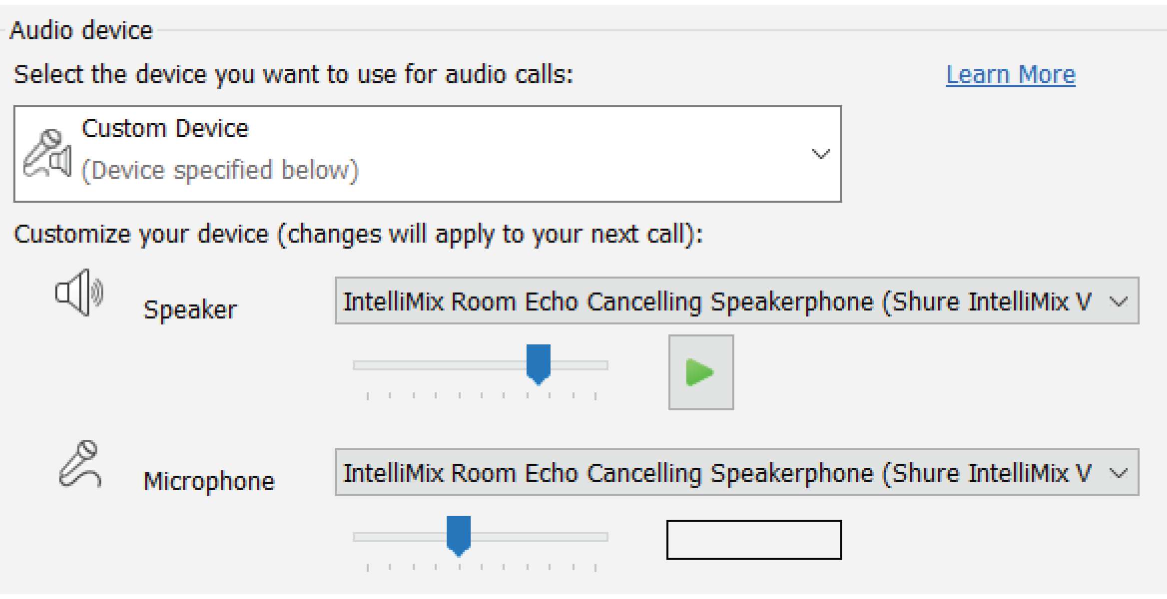 Screenshot showing what source to select in videoconferencing software to get audio to IntelliMix Room.