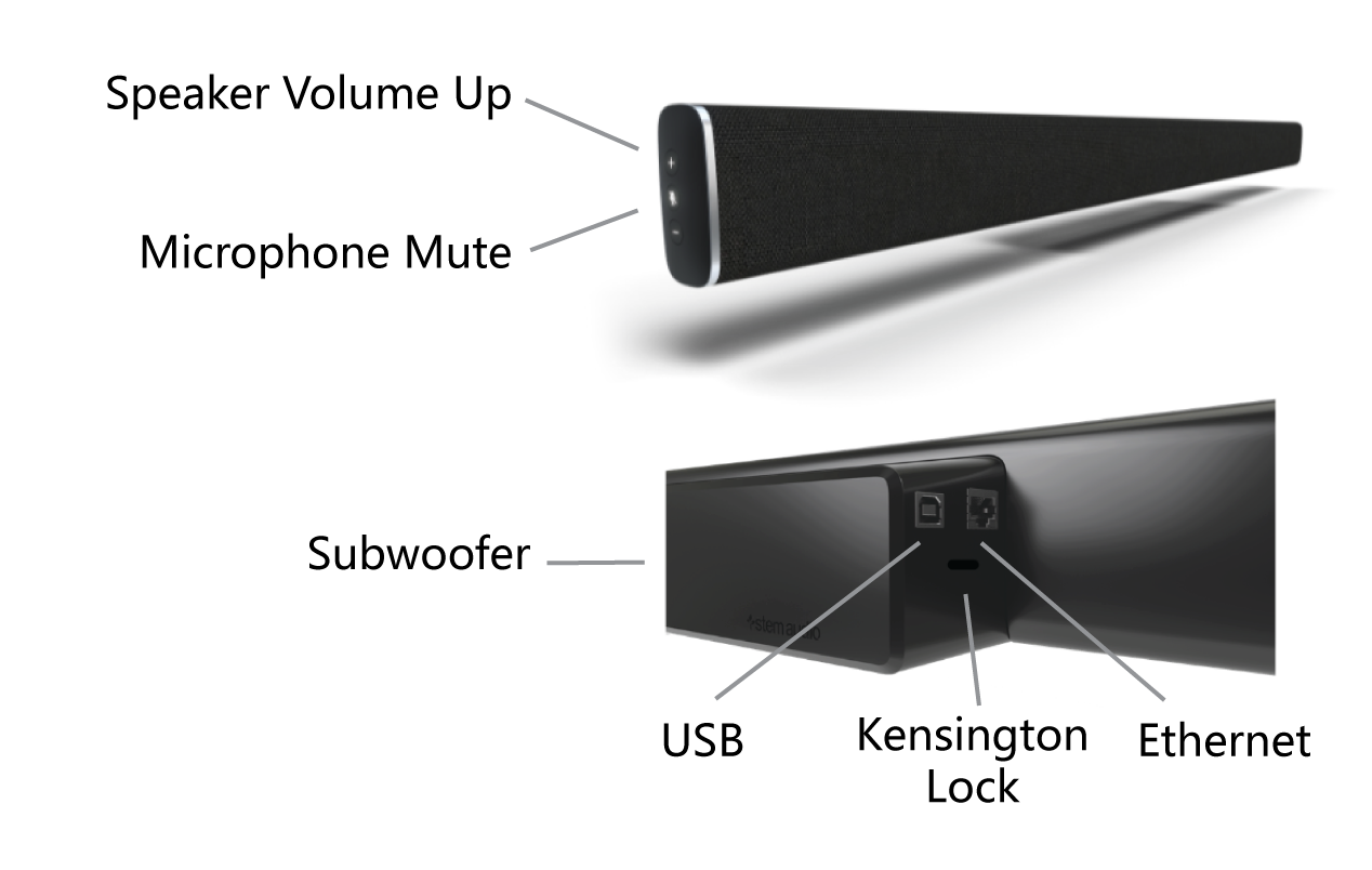Angled side view of the Stem Wall speaker, with arrows calling out features