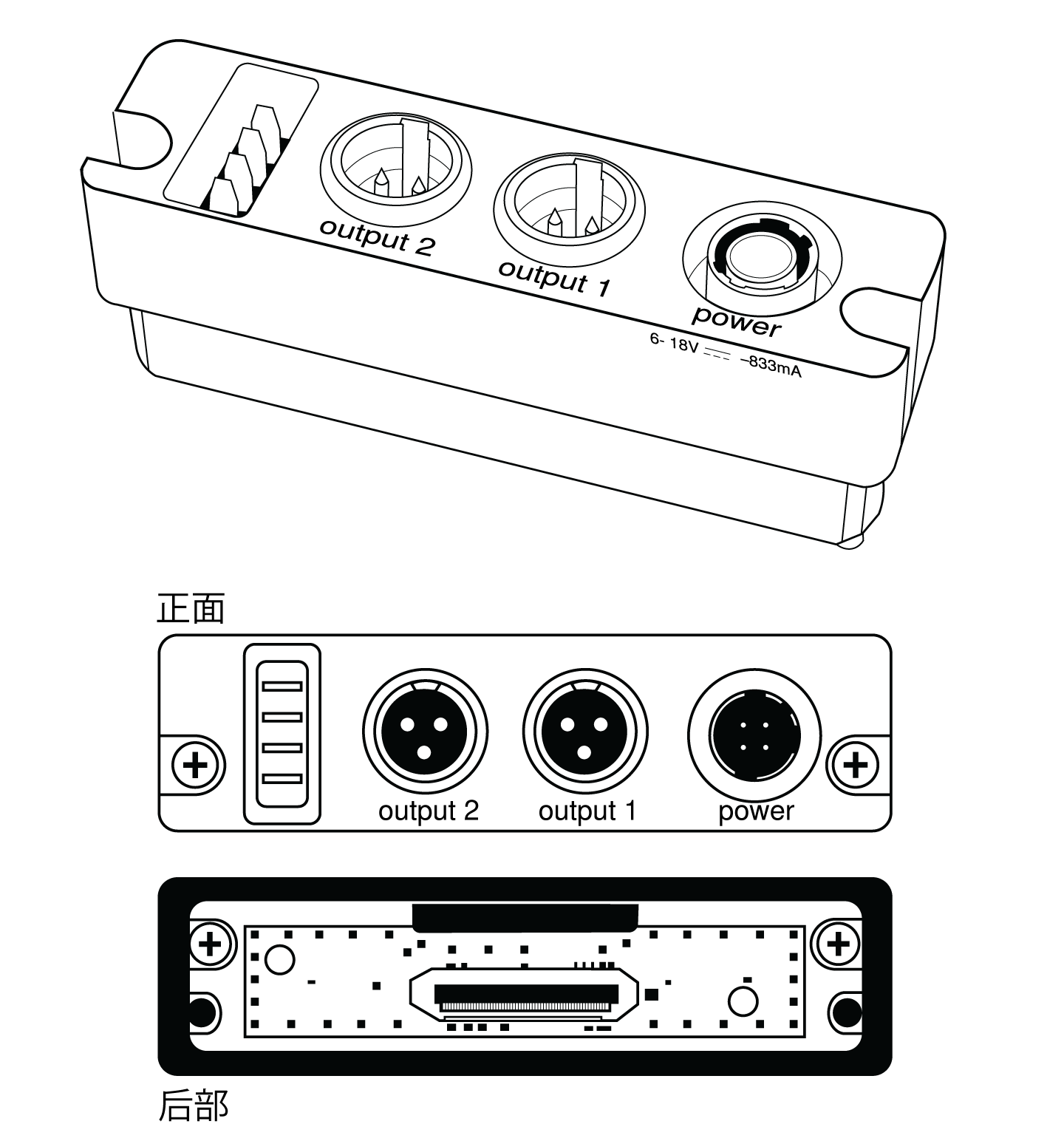 The TA3 backplate, showing the oower and outputs on the front and the connector on the rear