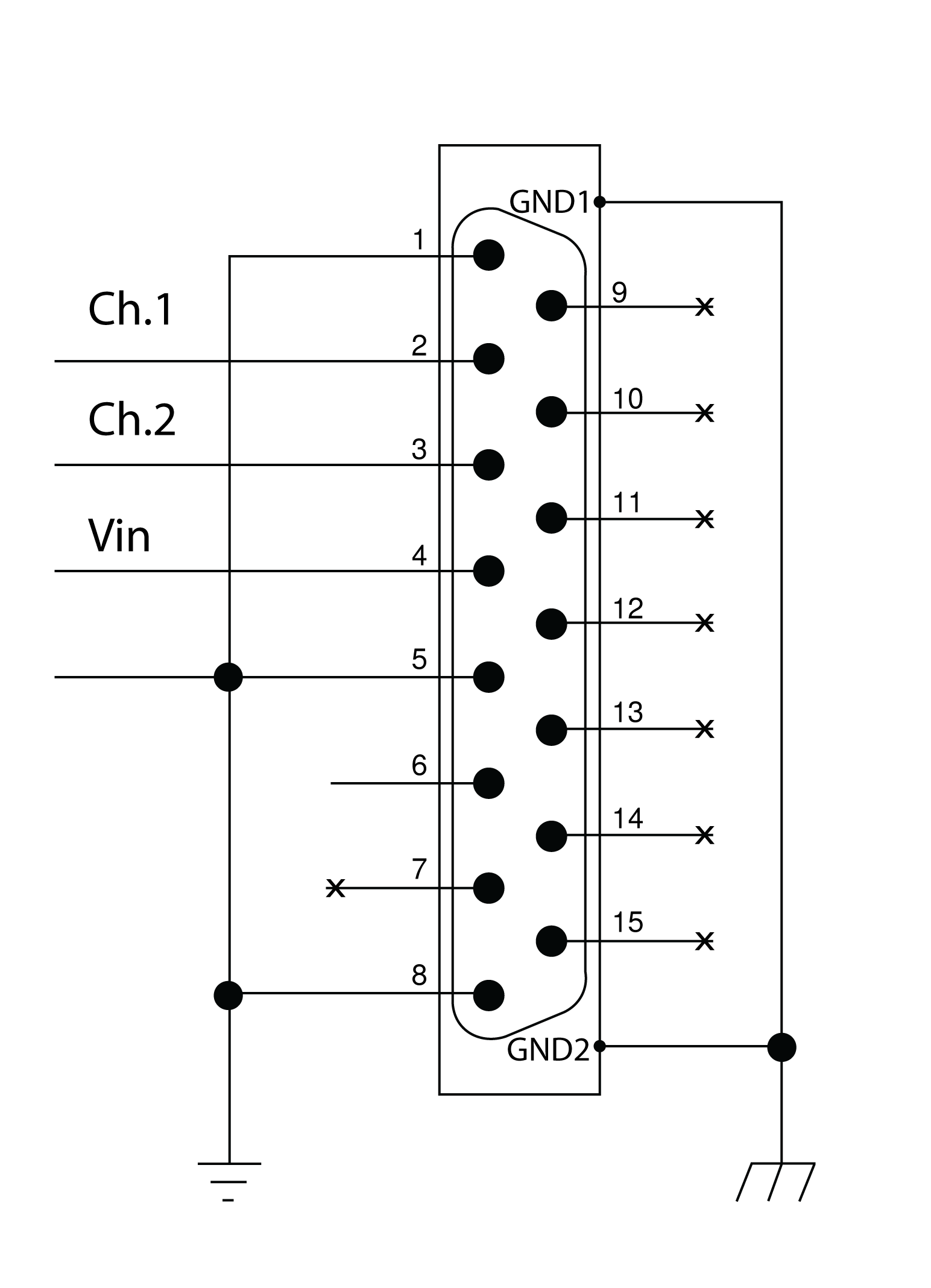Pinout diagram for DB15 connector.