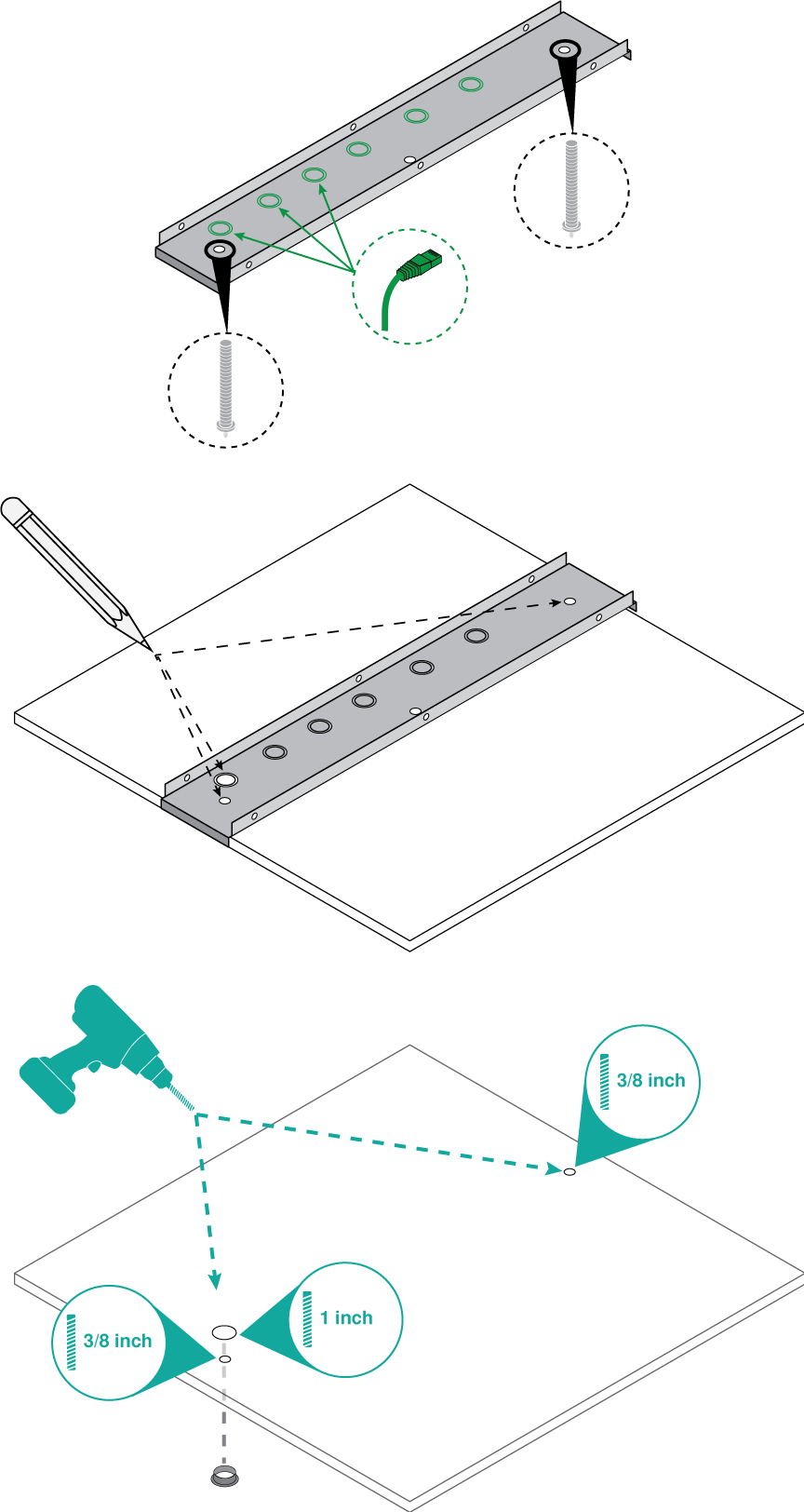 Illustration showing how to place the A710-TB on a ceiling tile and drill holes for the mounting bolts and Ethernet cable.