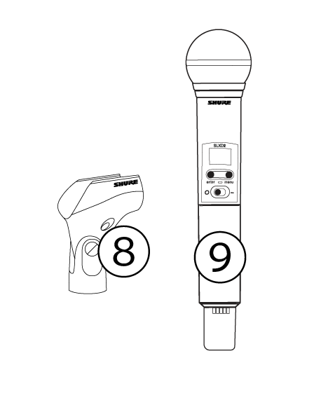 An image of the included SLX-D vocal system components, with numbers identifying each.