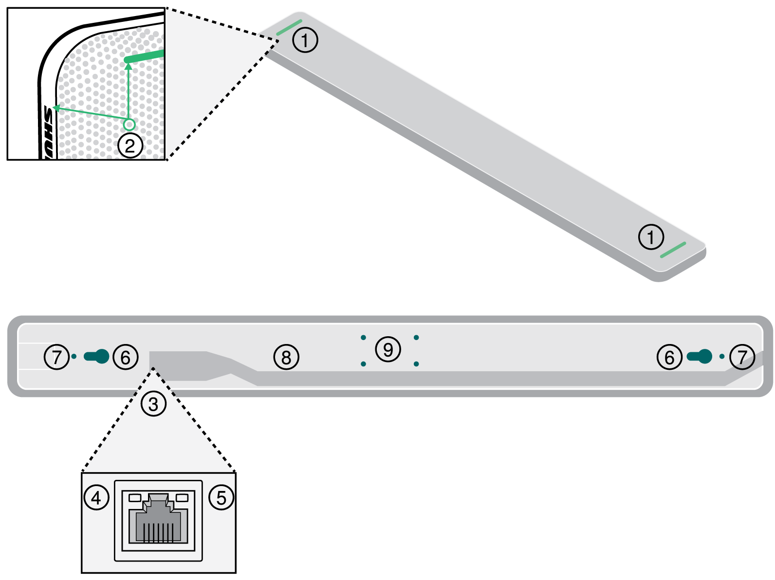 Numbered diagram showing the different parts of an MXA710 microphone.