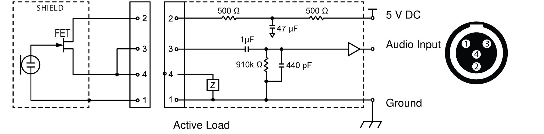 A diagram of the TA4M input connector